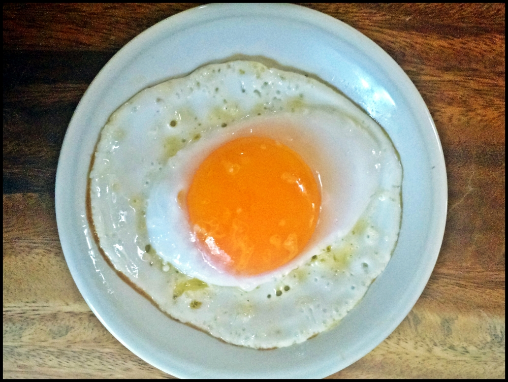 A fresh duck egg, slowly fried in coconut oil. Note the yolk to white ratio, the dark yellow colour of the yolk and imagine the rich taste. It doesn't stop here. Duck eggs make better muffins, fluffier omelets and richer mayonnaise. Go try for yourself and tell us what you like to do with duck eggs!