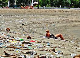 A polluted beach in Bali