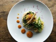 Sweet potato curry with sorghum and okra